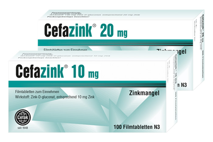Cefazink Produktfamilie mit 10mg Tabletten und 20mg Tabletten